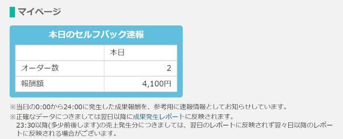 ★★本日のセルフバックの報酬金額がカウントされる_700