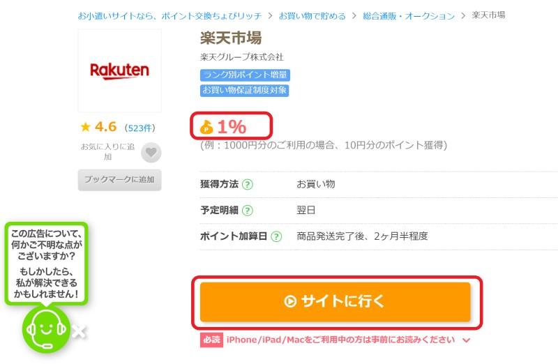 ポイントサイトの「楽天市場」案件ページのボタンから、楽天市場にアクセスして買い物をする