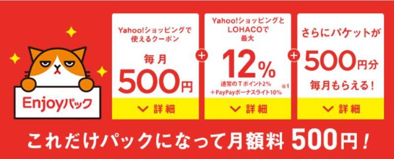 ワイモバイルのenjoyパックオプションの特典が500円以上の価値があるので、Yahooショッピング利用者は実質0円以上の価値がある