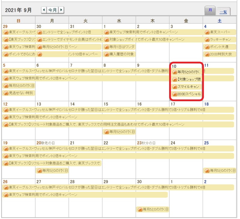 楽天カレンダーでは楽天スーパーセール期間中にも「5と0の付く日キャンペーン」が載っている