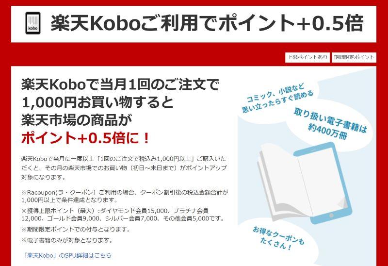 楽天Koboを月1000円以上利用するとSPU+0.5%の特典がある